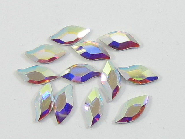 12 pcs. 10x5mm  DIAMOND LEAF CRYSTAL AB FLATBACK Swarovski Rhinestoned