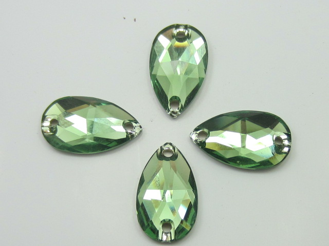 6pcs. TEARDROP 18x10.5mm ERINITE SEW ON FLATBACK Swarovski Rhinestone