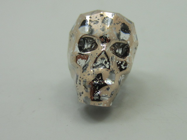 1pc. 13mm SKULL ROSE PATINA BEAD Swarovski Rhinestones